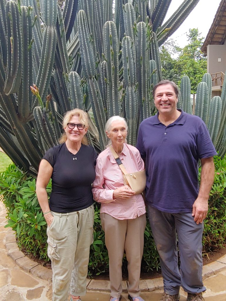 Author with her husband and famed conservationist Jane Goodall in Tanzania.
