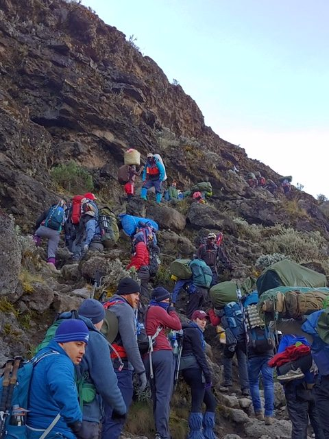 Group climbs the rocky Karanga Valley trail towards summit of Kilimanjaro.