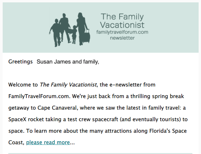 The Family Vacationist e-newsletter