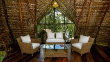 The thatch-roofed bar at the Sacha Lodge, Ecuador