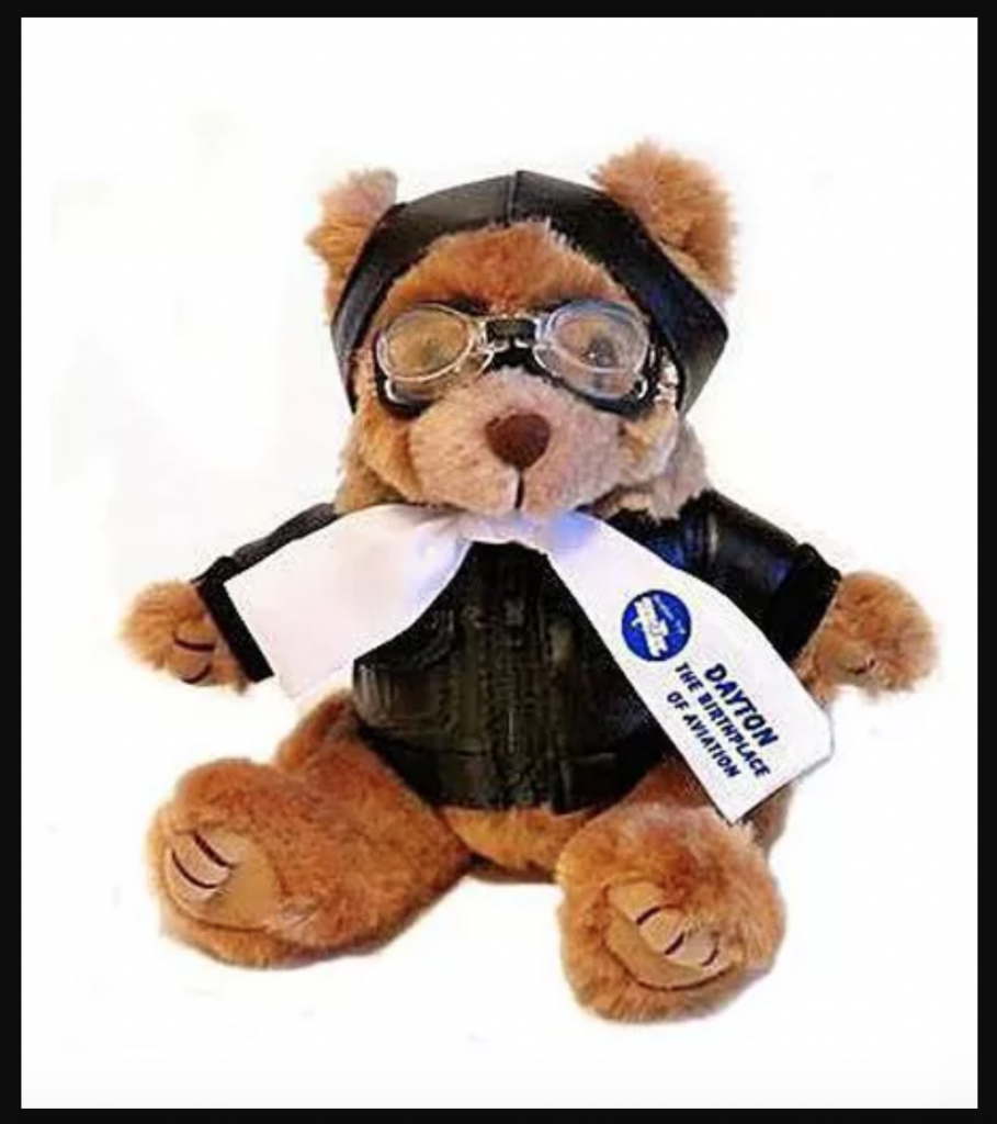 A Wilbear Wright teddy bear is your reward for following Dayton, Ohio's Aviation Trail.