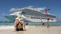 Grand Turk beach with Carnival Sunrise ship in the background.