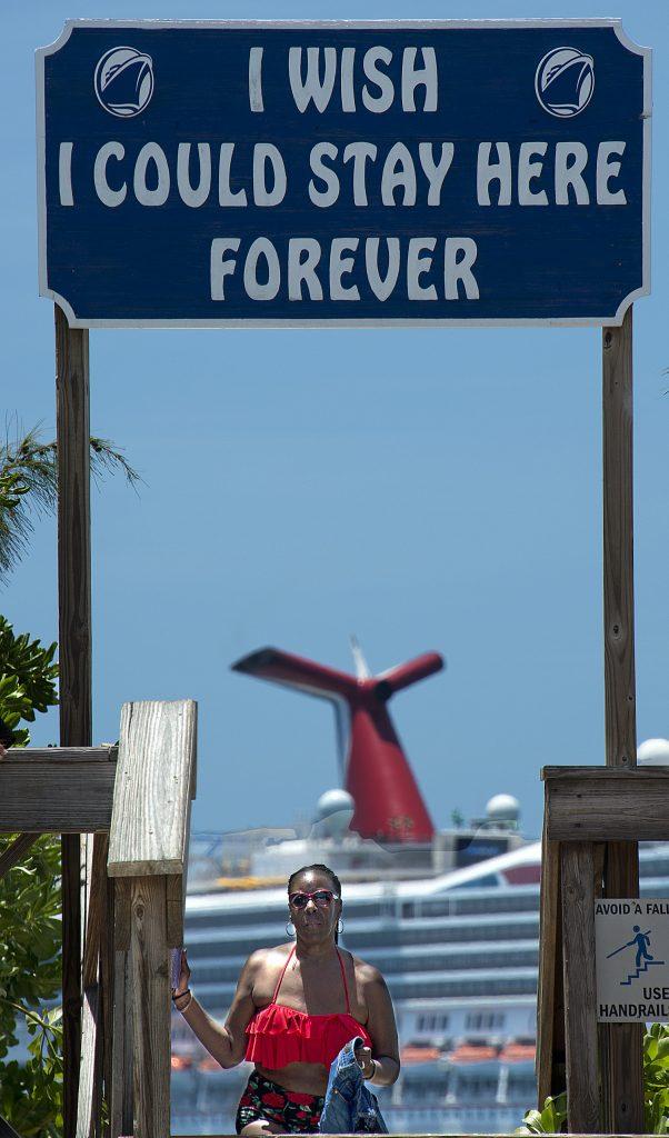 Happy cruise passenger in Bahamas