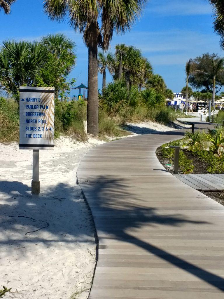 beachfront boardwalk at the Sirata Beach Resort
