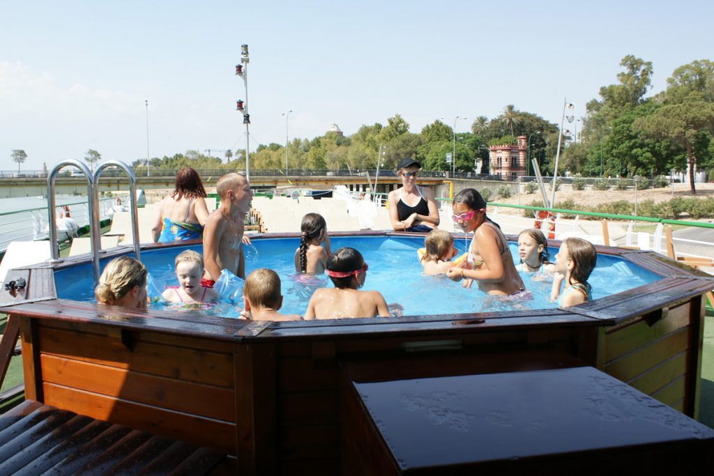 pool on the deck of the Gil Eanes river cruiser by Croisieurope