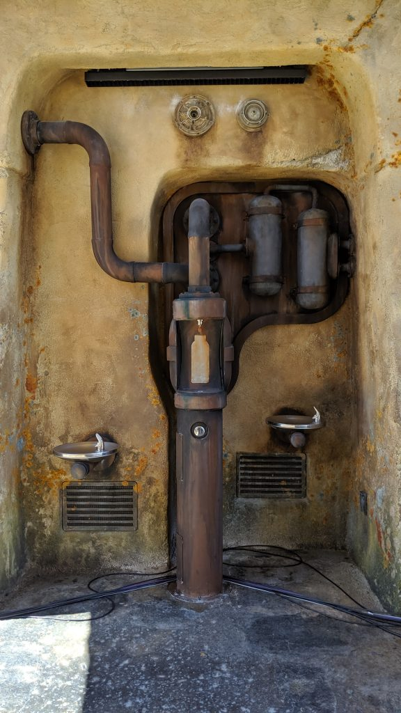 Water fountains at Black Spire Outpost on Batuu.