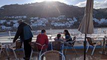 Having breakfast on the deck of the Celestyal Crystal off the coast of Mykonos.