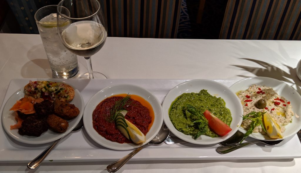 Greek mezedes from codfish croquettes to sundried tomatoes, pesto and caviar dips.