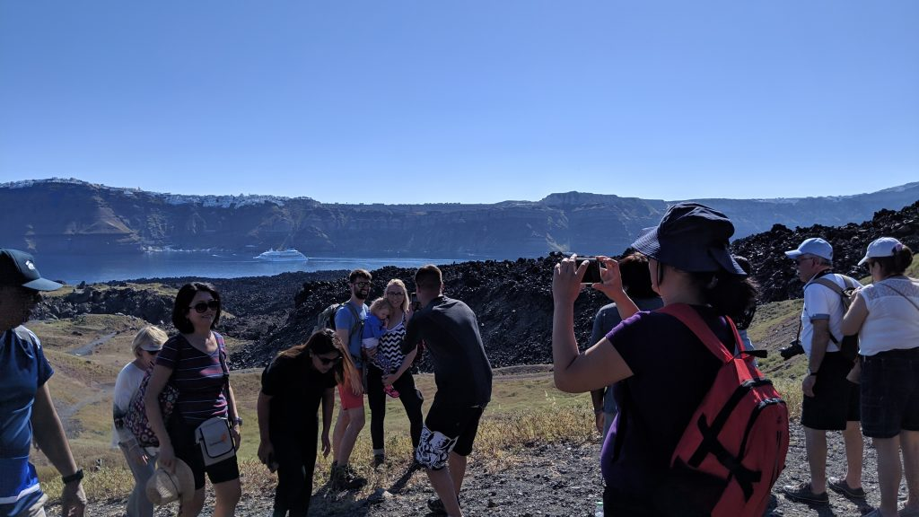 Hiking the volcano on Nea Kameni island was a fun shore excursion for everyone