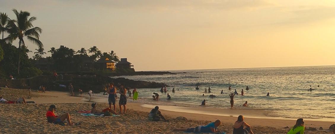 Beach at sunset on Big Island of Hawaii