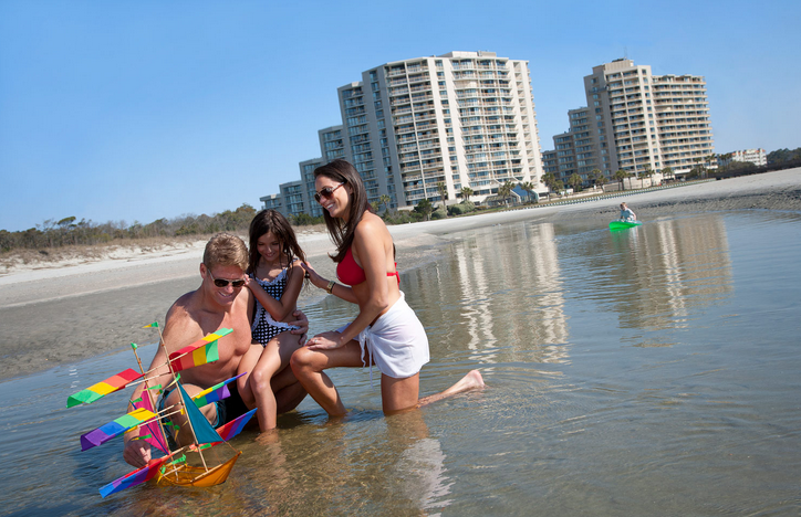 Play in the gentle surf at Myrtle Beach
