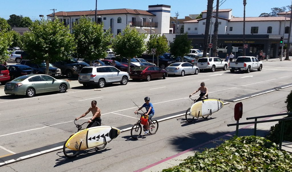 Surfboards carried by bicylcles in Santa Cruz.
