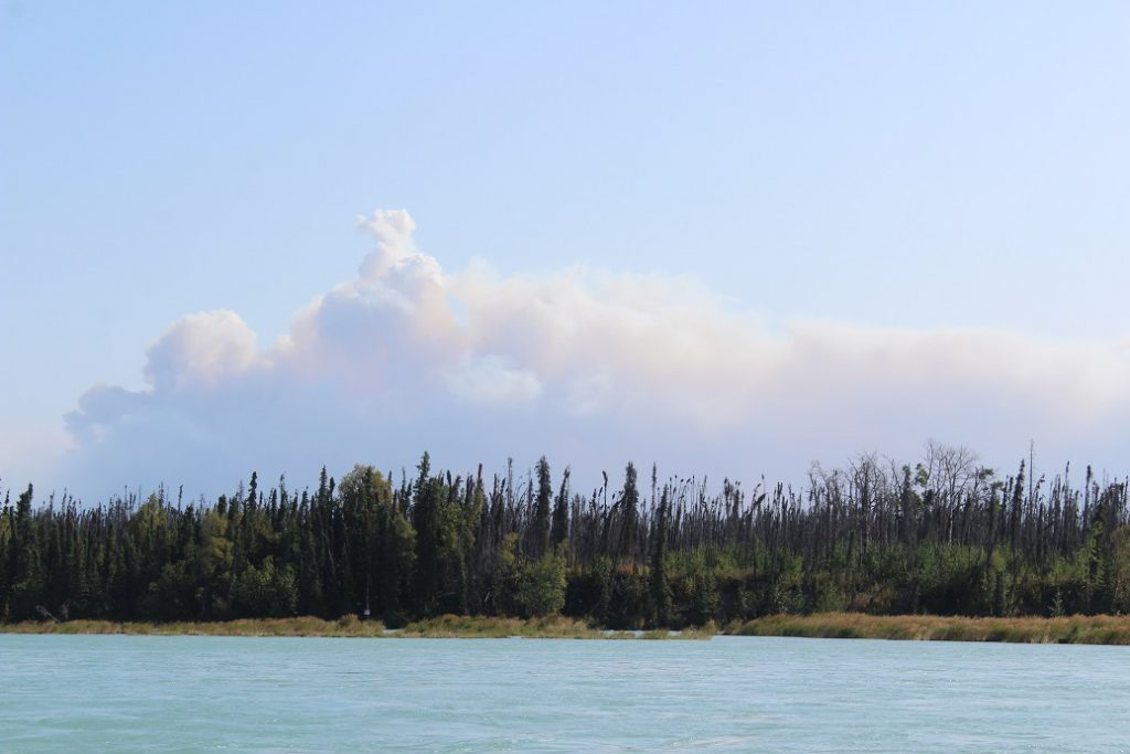 Kenai River view of distant fire.