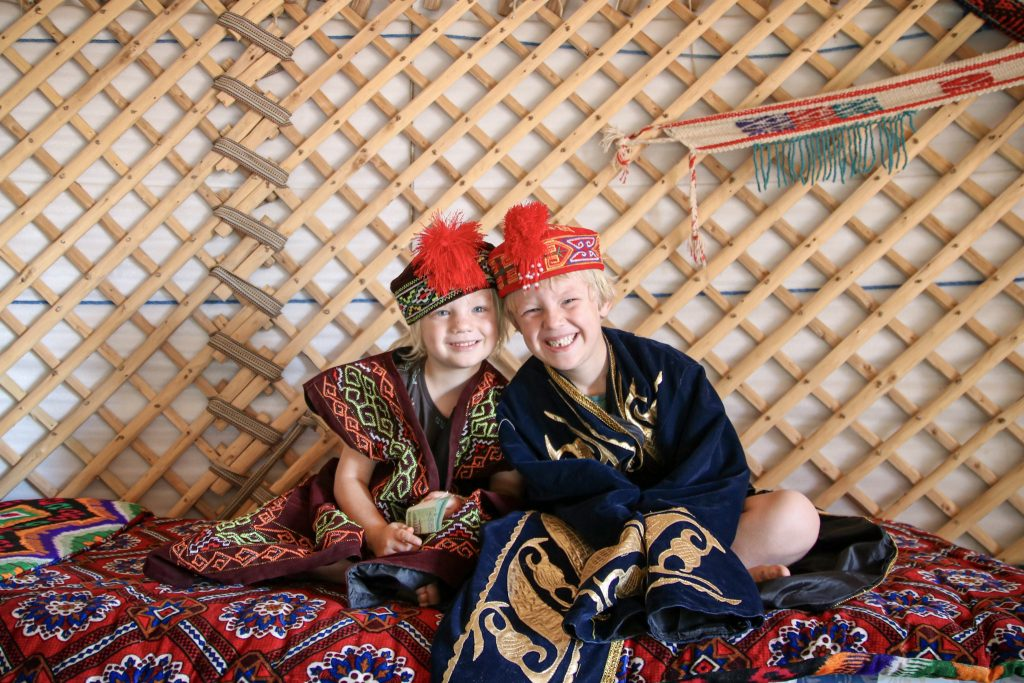 Boys in Uzbekistan dress.