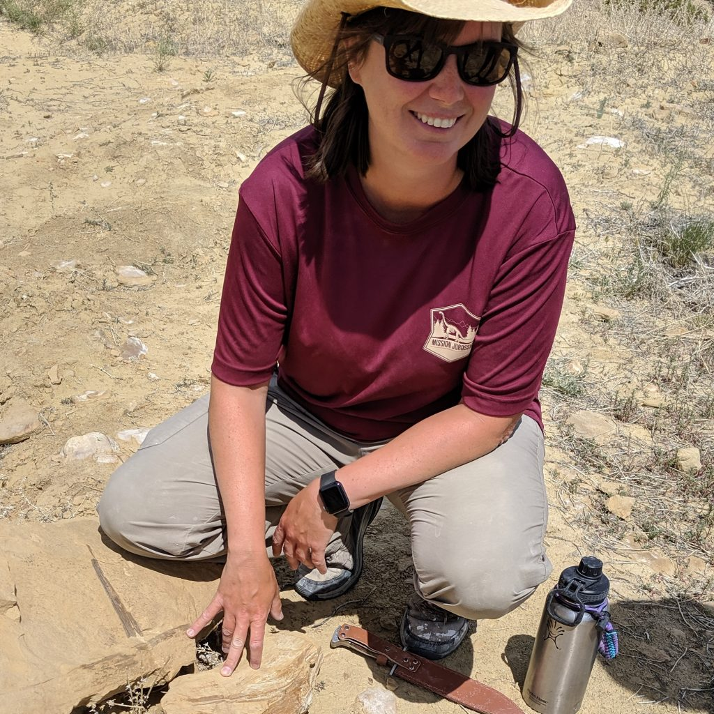Dr. Victoria Egerton points out a Jurassic period plant fossil.