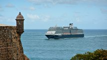 The elegant Eurodam sailing off the coast of Puerto Rico
