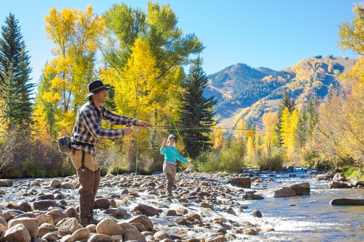 Fishing along a river in Aspen