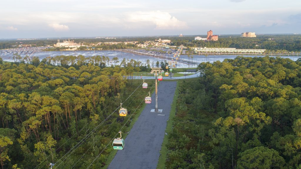 Disney Skyliner runs between Disney's Hollywood Studios and Epcot to four resort hotels
