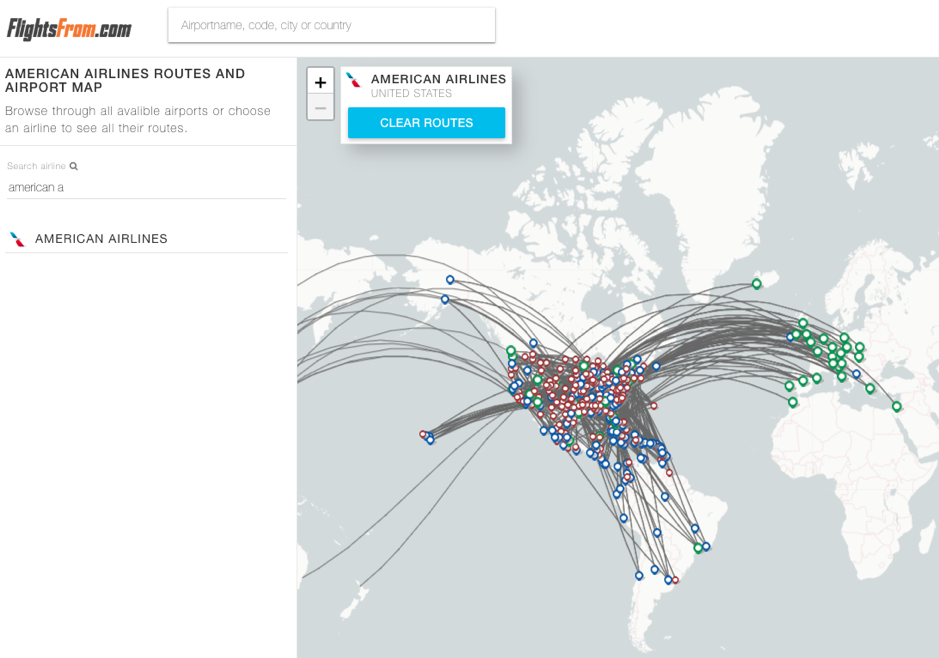 Airline feature on the FlightsFrom.com map