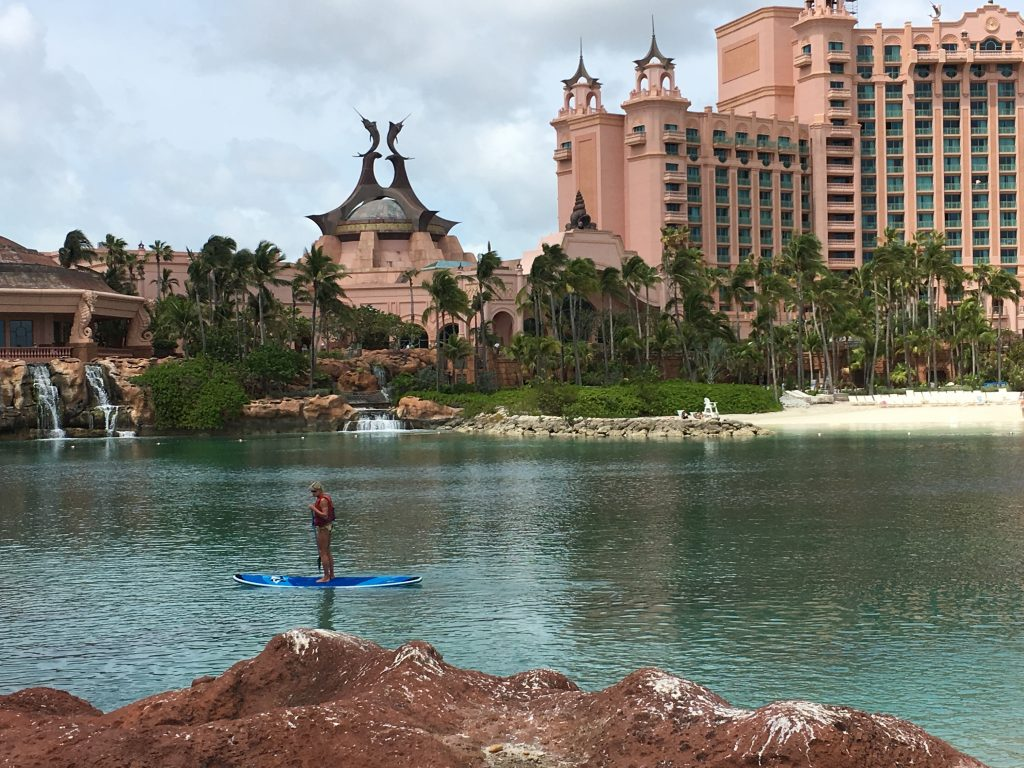 Trying standup paddleboarding in the lagoon at Atlantis.