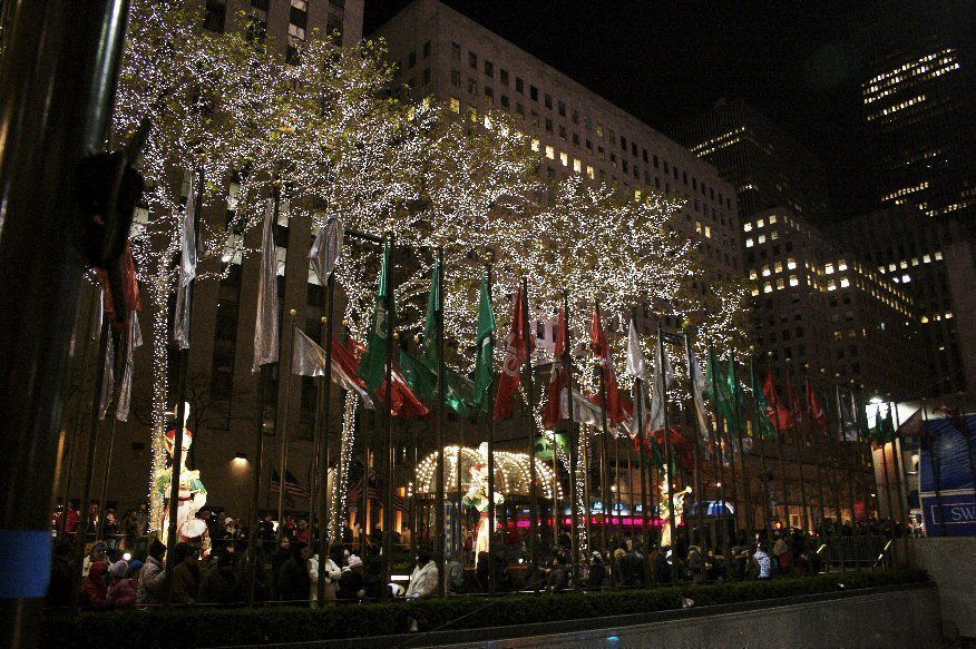 World flags and holiday lights at Rockefeller Center