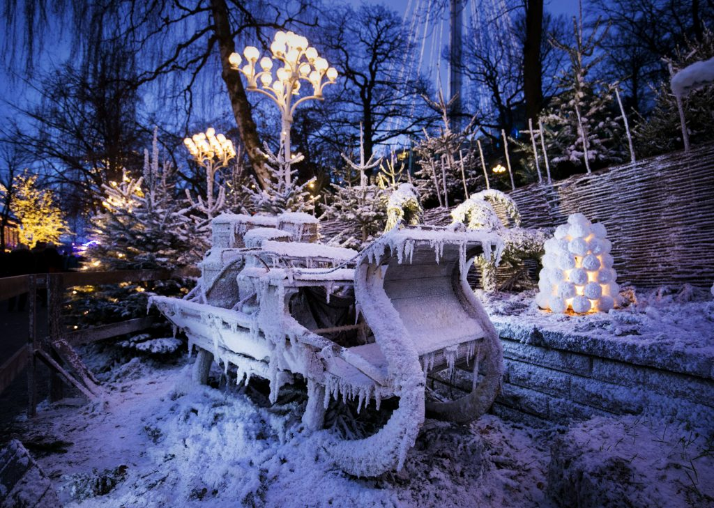 Snow covered sled at Liseberg Christmas Market, Sweden