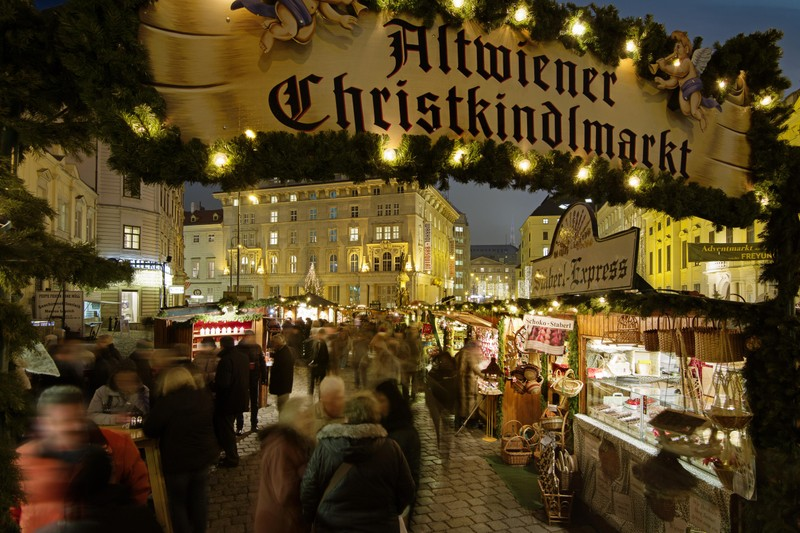 Christkindlmarket takes over Vienna's Old Town during the holiday season.