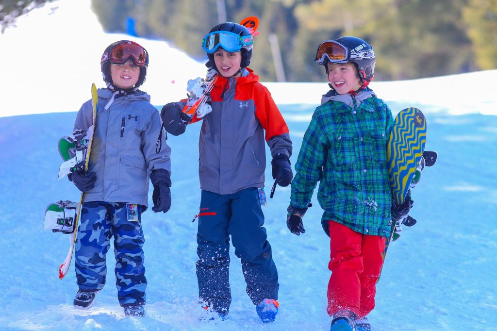 Elk Mountain Pennsylvania, boys in the snow with ski gear