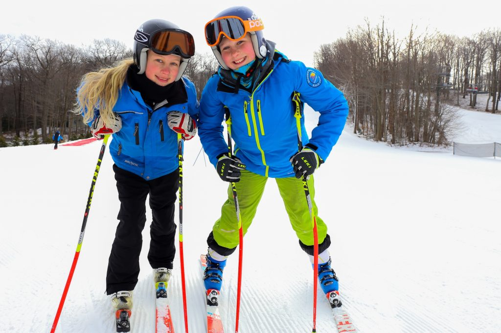 Two girls skiing at Hidden Valley, Pennsylvania