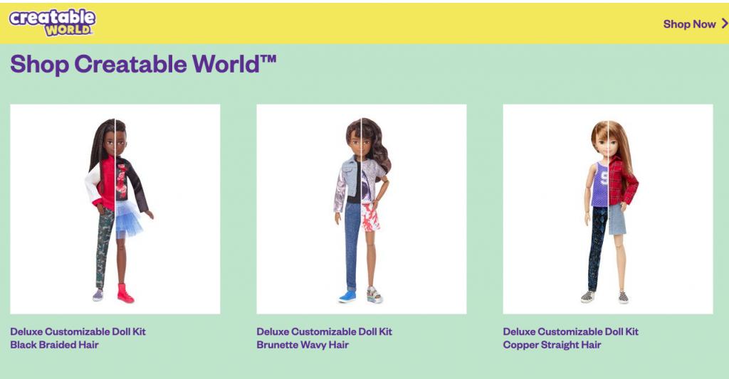 Ad for Mattel's Creatable World Dolls