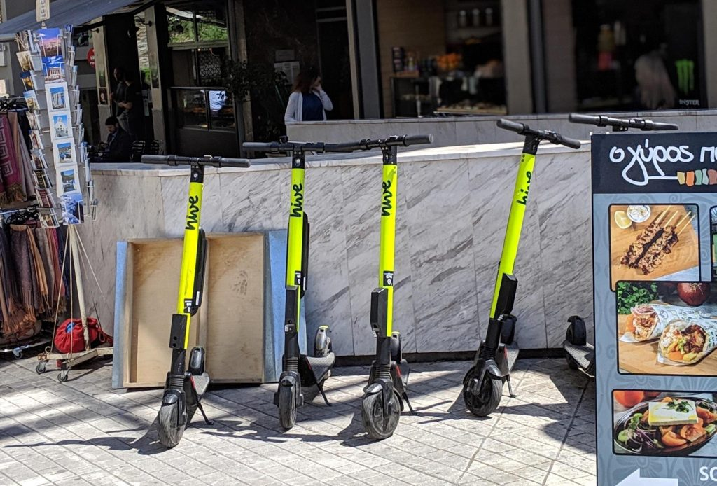 Lime scooters for rent in Athens, Greece.