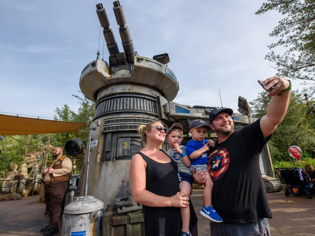 Family selfie at Rise of the Resistance ride at Walt Disney World