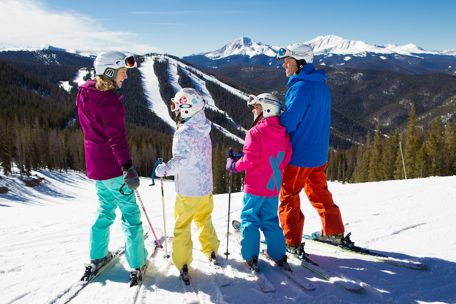 Family skiing at North Peak of Keystone, Colorado.