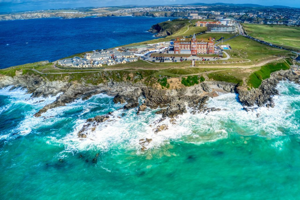 Headland Hotel overlooks Fistral Beach in Cornwall, U.K.