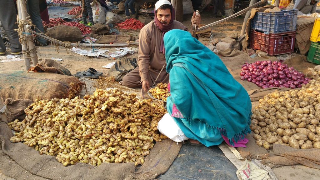Ginger and potato vendor at Agra Market