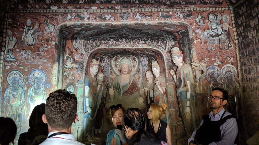 Inside one of the caves at Mogao Grottoes