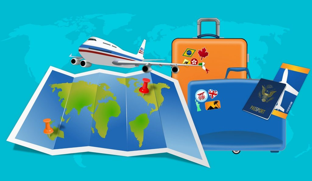 graphic of travel documents and luggage