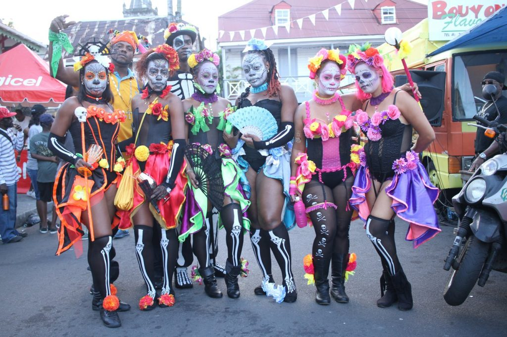 Dominica Carnival women in costumes