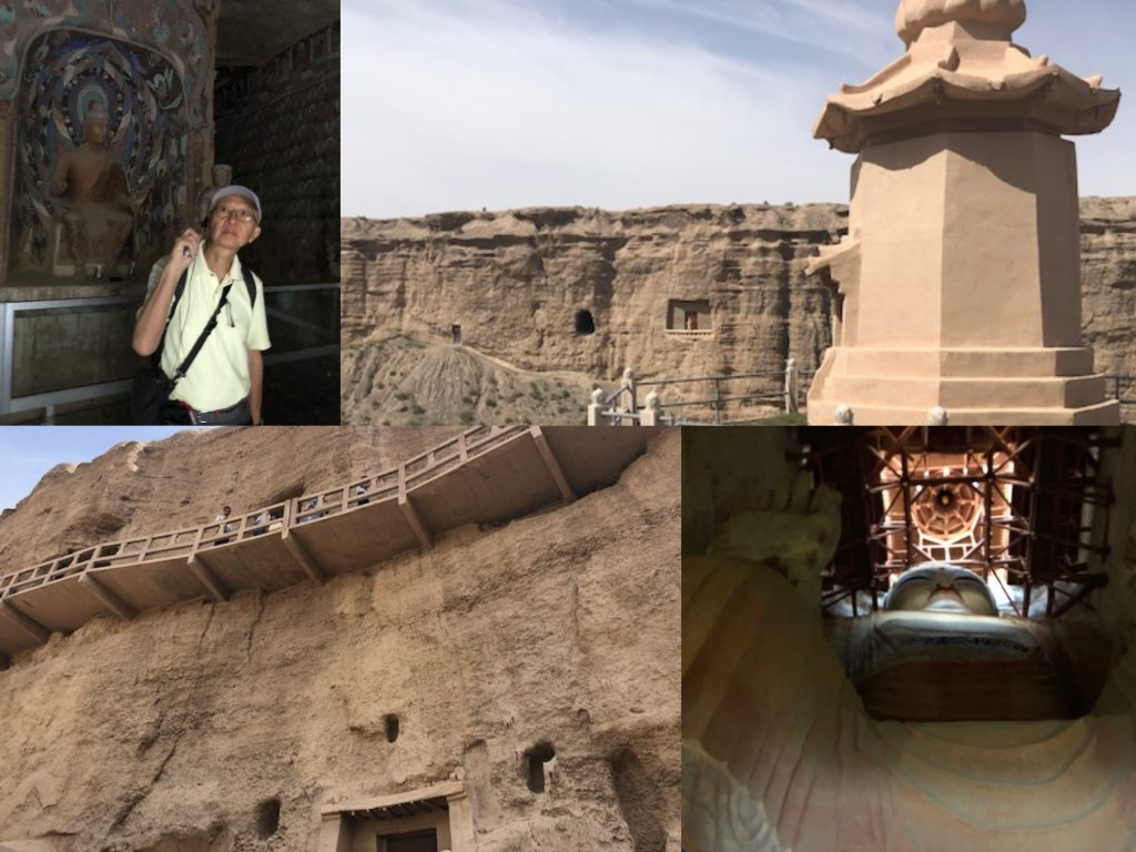 montage of exterior and interior views of mogao grottoes, dunhuang
