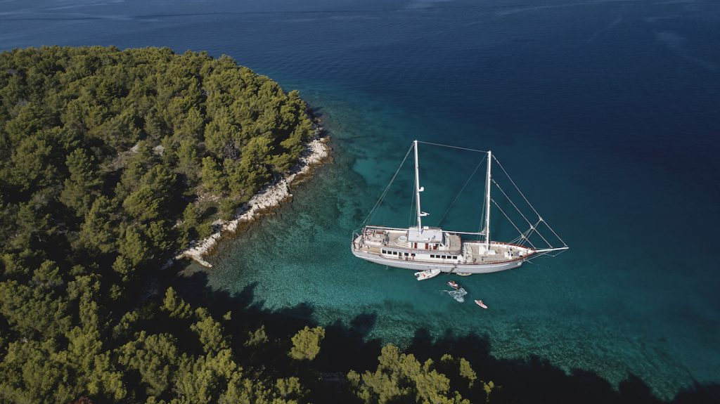 Corsario yacht moored off one of the best places to sail in Croatia