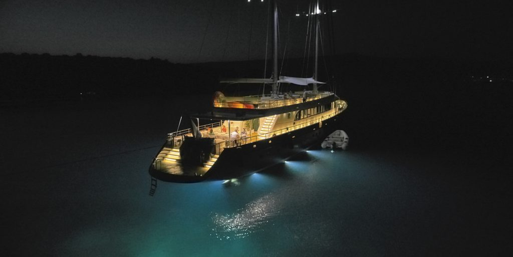 goolet yacht moored in the Adriatic Sea at night.