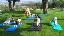 Children's yoga class at Adler Spa Thermae in Italy.