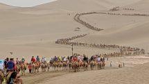 Camel caravan of thousands at Echoing Sands National Geopark, Dunhuang, China
