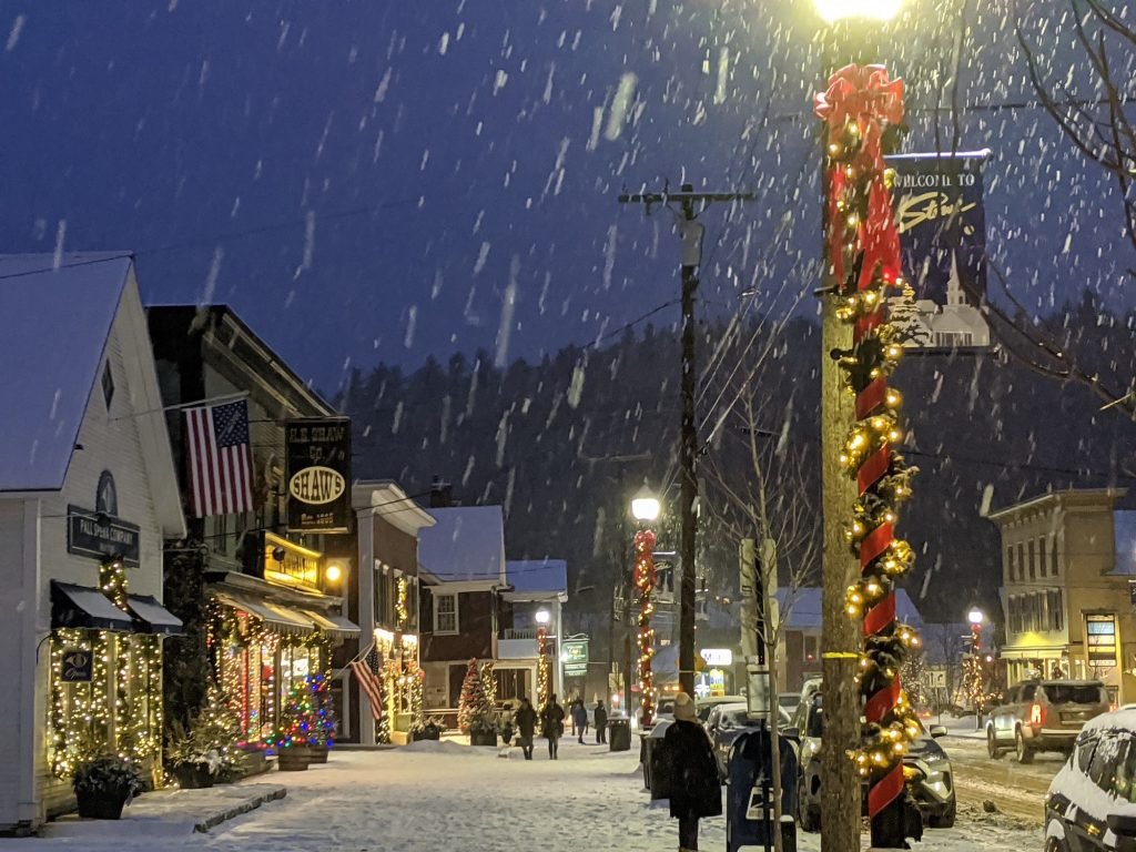 Stowe, Vermont has a scenic main street decorated for the holidays.