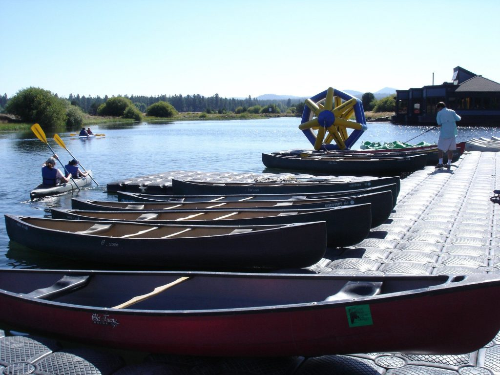 Canoes at the marina of Sunriver Resort