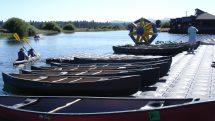 Canoes at the marina of Sunriver Resort