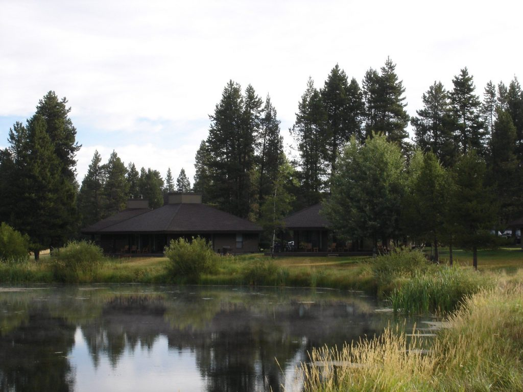 sunriver Resort condos by a lake.