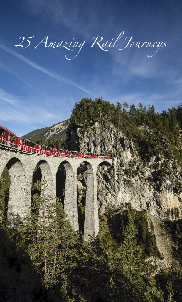 Bernina Express train cross Landwasser Viaduct in Switzerland