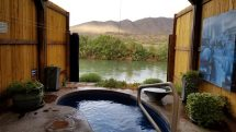 Private tub cabana at Riverbend Hot Springs, Truth or Consequences, New Mexico