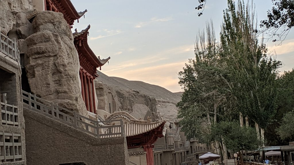 The many levels of Mogao Grottoes outside Dunhuang